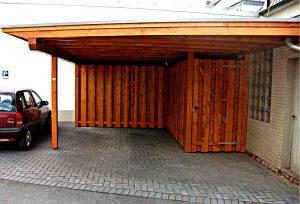 Carport Holzverkleidung und Bikeport Beckum